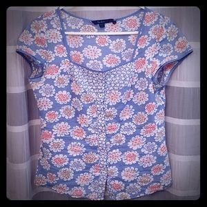Floral print 100% cotton button up shirt